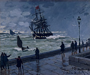 Rain Painting Framed Prints - The Jetty at Le Havre in Bad Weather Framed Print by Claude Monet