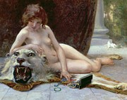 Lion Painting Posters - The Jewel Case Poster by Guillaume Seignac