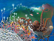 Scuba Paintings - The Jeweled Octopus by Lee Pantas