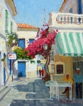 Greece Paintings - The Jeweller Shop by Roelof Rossouw