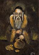Rabbi Paintings - The Jewish Banker  by Angel  Tarantella