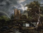 Rainbow Canvas Framed Prints - The Jewish Cemetery Framed Print by Jacob Isaaksz Ruisdael