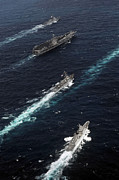 Boats Tapestries Textiles - The John C. Stennis Carrier Strike by Stocktrek Images