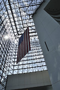 Flag Of Usa Prints - The John F Kennedy Presidential Library Print by Greg Stechishin
