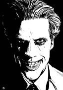 Featured Drawings Prints - The Joker Print by Giuseppe Cristiano