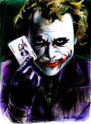 Purple Drawings Prints - The Joker Print by Lin Petershagen