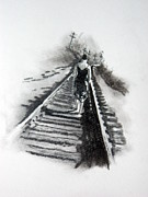 Train Tracks Drawings - The Journey by Christine Wilcox and Brian Davis