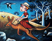 Kangaroos Paintings - The Journey Woman by Leanne Wilkes