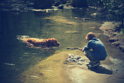 Dog Swimming Metal Prints - The Joys of Innocence Metal Print by Laurie Search