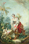 Rococo Framed Prints - The Joys of Motherhood Framed Print by Jean-Honore Fragonard