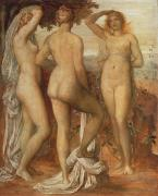 Cloth Painting Posters - The Judgement of Paris Poster by George Frederic Watts
