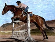 Thoroughbred Mixed Media - The Jumper - Horse and Rider Painting by Patricia Barmatz