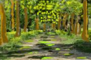 Pathway Digital Art Originals - The Jungle Road by Praval Dadheech