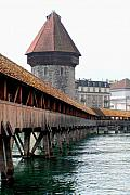 Lucerne Art - The Kapellbrucke on the River Rueuss by Greg Sharpe