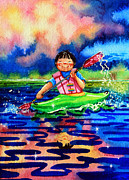 Kayaking Art Paintings - The Kayak Racer 11 by Hanne Lore Koehler