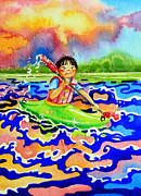 Kayaking Art Paintings - The Kayak Racer 12 by Hanne Lore Koehler