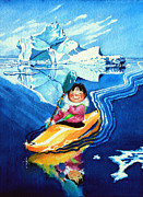 Illustration Painting Originals - The Kayak Racer 13 by Hanne Lore Koehler