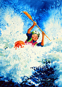 Kayaking Art Paintings - The Kayak Racer 16 by Hanne Lore Koehler