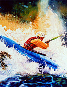 White Water Kayaking Posters - The Kayak Racer 17 Poster by Hanne Lore Koehler
