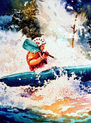 White Water Kayaking Posters - The Kayak Racer 18 Poster by Hanne Lore Koehler