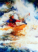 White Water Kayaking Posters - The Kayak Racer 19 Poster by Hanne Lore Koehler