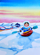 Kids Sports Art Originals - The Kayak Racer 3 by Hanne Lore Koehler