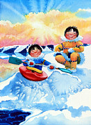 Kids Sports Art Originals - The Kayak Racer 4 by Hanne Lore Koehler