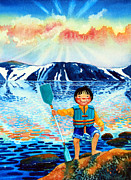Kids Sports Art Originals - The Kayak Racer 5 by Hanne Lore Koehler