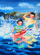 Kayaking Art Paintings - The Kayak Racer 7 by Hanne Lore Koehler