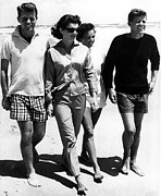 Senator Kennedy Metal Prints - The Kennedys, Robert, Jackie, Ethel Metal Print by Everett