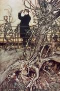 Tree Roots Drawings Prints - The Kensington Gardens are in London where the King lives Print by Arthur Rackham