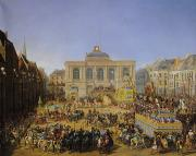 Carnival Carriage Painting Prints - The Kermesse at Saint-Omer in 1846 Print by Auguste Jacques Regnier