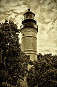 Lighthouse Digital Art - The Key West Lighthouse in Sepia by Bill Cannon