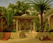 Orientalist Painting Posters - The Khabanija Fountain in Cairo Poster by Grigory Tchernezov