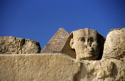 Great Sphinx Framed Prints - The Khephren Pyramid and The Great Sphinx of Giza Framed Print by Sami Sarkis