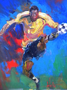 Soccer Painting Framed Prints - The kick Framed Print by Carlos Ostos