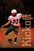 Football Game Mixed Media Prints - The Kickoff Print by John Turek
