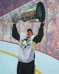 Hockey Paintings - The Kid and the Cup by Allan OMarra