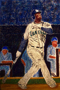 Baseball Pastels Posters - The Kid feat Ken Griffey Jr Poster by D Rogale
