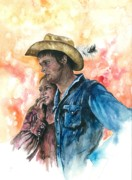 Cowboy Hat Paintings - The King And His Queen by Kim Whitton