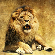 Wild Animal Mixed Media Posters - The King Poster by Angela Doelling AD DESIGN Photo and PhotoArt