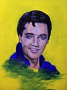 Elvis Portrait Paintings - The King by Charles Vaughn