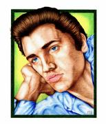 Elvis Drawings - The King Elvis Presley by Sheryl Unwin