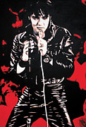 Elvis Painting Prints - The King Print by Luis Ludzska