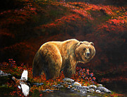 Kodiak Bear Paintings - The King of Blueberry hill by Scott Thompson