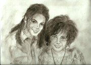 Michael Jackson Paintings - The King of Pop and Elizabeth Taylor by Nicole Wang