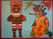 Mayan Paintings - The King of Spring and Prince of Flowers by Suzanne Buckland