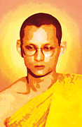 Portrait Digital Art Prints - The King of Thailand Priesthood Print by Eakaluk Pataratrivijit