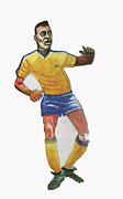 Player Drawings Posters - The KIng Pele Poster by Emmanuel Baliyanga