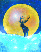 Deer Pastels Posters - The King Stag Poster by Diana Haronis
